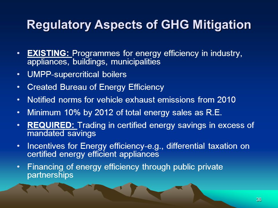 38 Regulatory Aspects of GHG Mitigation EXISTING: Programmes for energy efficiency in industry, appliances, buildings, municipalities UMPP-supercritic