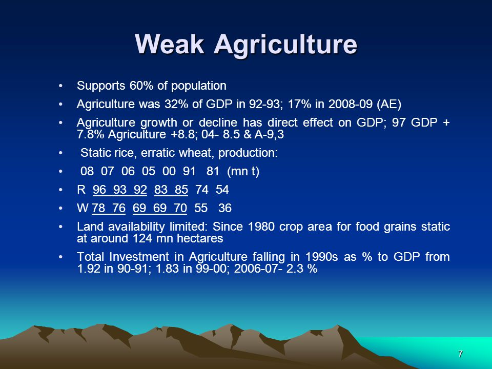 7 Weak Agriculture Supports 60% of population Agriculture was 32% of GDP in 92-93; 17% in 2008-09 (AE) Agriculture growth or decline has direct effect