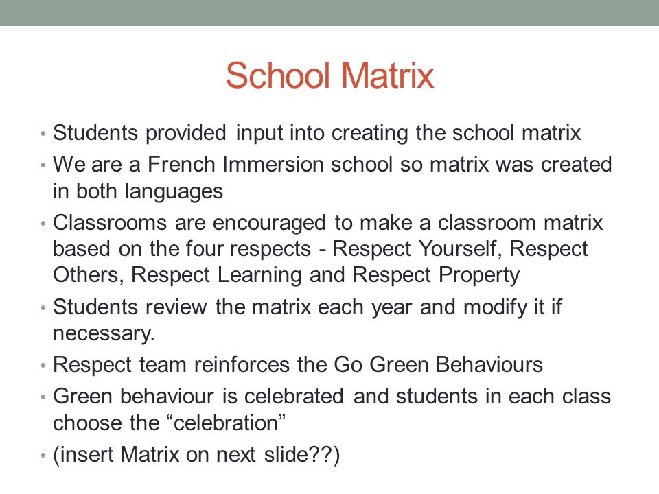 School Matrix Students provided input into creating the school matrix We are a French Immersion school so matrix was created in both languages Classrooms are encouraged to make a classroom matrix based on the four respects - Respect Yourself, Respect Others, Respect Learning and Respect Property Students review the matrix each year and modify it if necessary.