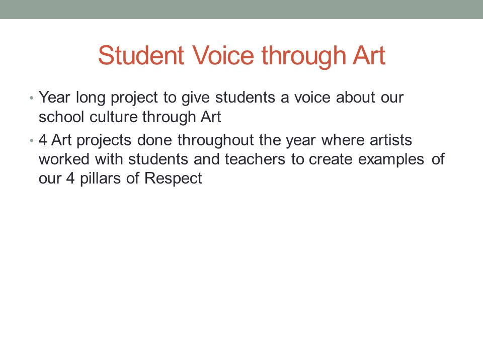 Student Voice through Art Year long project to give students a voice about our school culture through Art 4 Art projects done throughout the year wher