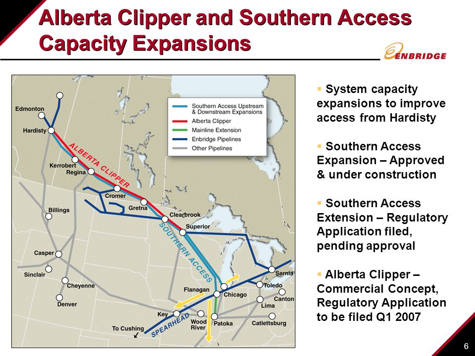 6 Alberta Clipper and Southern Access Capacity Expansions  System capacity expansions to improve access from Hardisty  Southern Access Expansion – Approved & under construction  Southern Access Extension – Regulatory Application filed, pending approval  Alberta Clipper – Commercial Concept, Regulatory Application to be filed Q1 2007