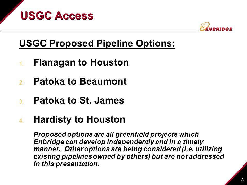 8 USGC Access USGC Proposed Pipeline Options: 1. Flanagan to Houston 2.