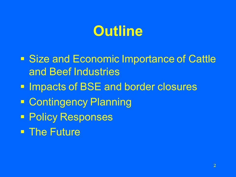 2 Outline  Size and Economic Importance of Cattle and Beef Industries  Impacts of BSE and border closures  Contingency Planning  Policy Responses  The Future