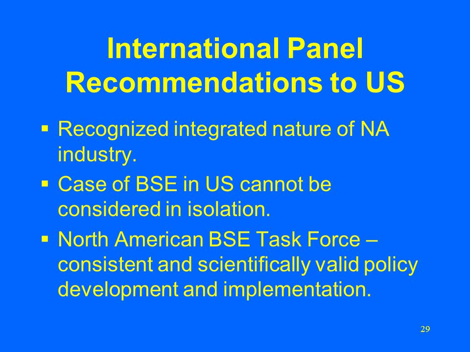 29 International Panel Recommendations to US  Recognized integrated nature of NA industry.