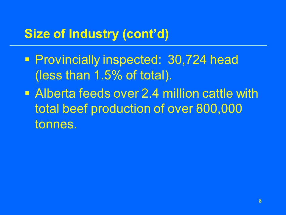 8 Size of Industry (cont'd)  Provincially inspected: 30,724 head (less than 1.5% of total).