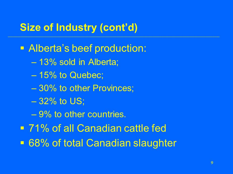 9 Size of Industry (cont'd)  Alberta's beef production: –13% sold in Alberta; –15% to Quebec; –30% to other Provinces; –32% to US; –9% to other countries.