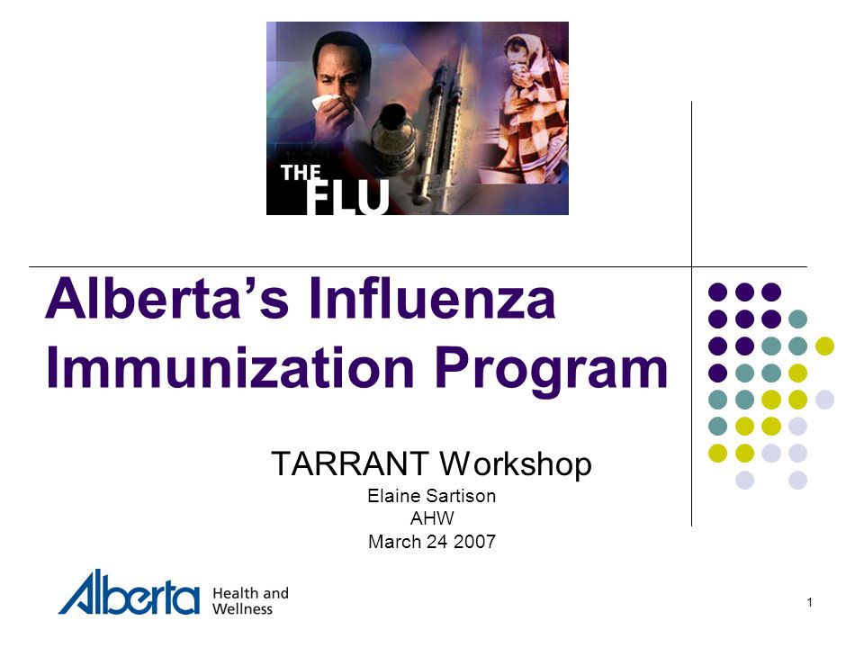 1 Alberta's Influenza Immunization Program TARRANT Workshop Elaine Sartison AHW March 24 2007