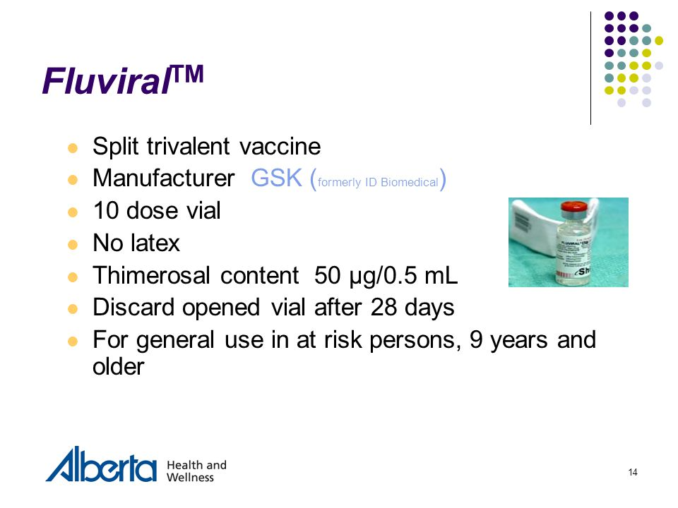 14 Fluviral TM Split trivalent vaccine Manufacturer GSK ( formerly ID Biomedical ) 10 dose vial No latex Thimerosal content 50 µg/0.5 mL Discard opene