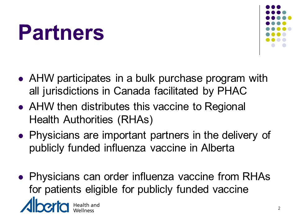 2 Partners AHW participates in a bulk purchase program with all jurisdictions in Canada facilitated by PHAC AHW then distributes this vaccine to Regional Health Authorities (RHAs) Physicians are important partners in the delivery of publicly funded influenza vaccine in Alberta Physicians can order influenza vaccine from RHAs for patients eligible for publicly funded vaccine