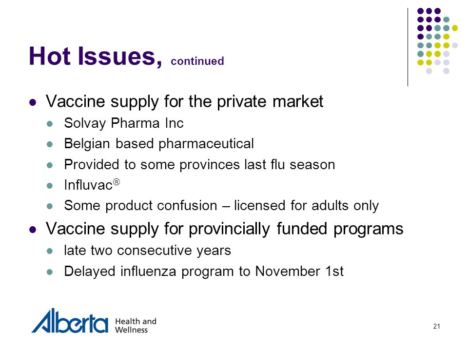 21 Hot Issues, continued Vaccine supply for the private market Solvay Pharma Inc Belgian based pharmaceutical Provided to some provinces last flu season Influvac  Some product confusion – licensed for adults only Vaccine supply for provincially funded programs late two consecutive years Delayed influenza program to November 1st