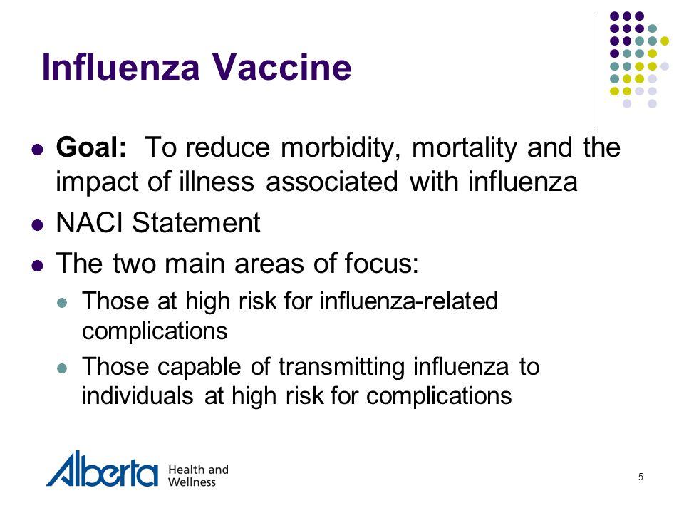 5 Influenza Vaccine Goal: To reduce morbidity, mortality and the impact of illness associated with influenza NACI Statement The two main areas of focus: Those at high risk for influenza-related complications Those capable of transmitting influenza to individuals at high risk for complications