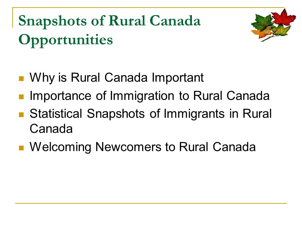 Why is Rural Canada important.