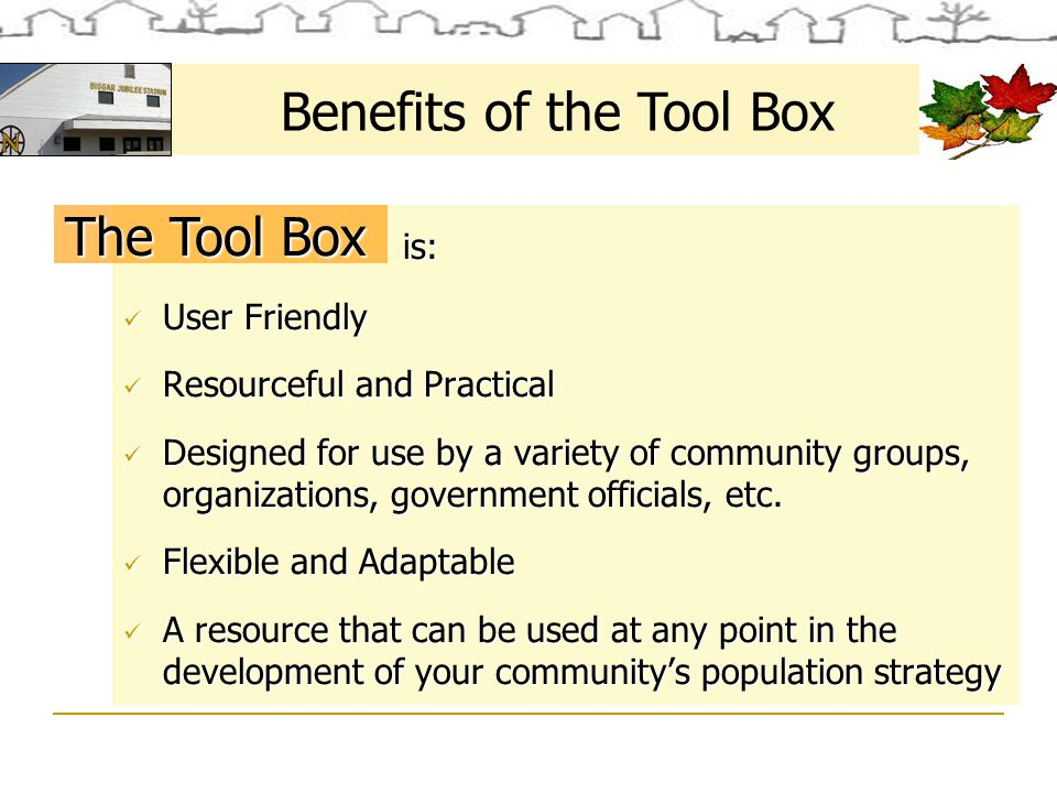 Small Centres: Tool Box Users Small Centres that wish to attract new residents and have support & consensus from key community residents & stakeholders Who Uses the Tool Box.