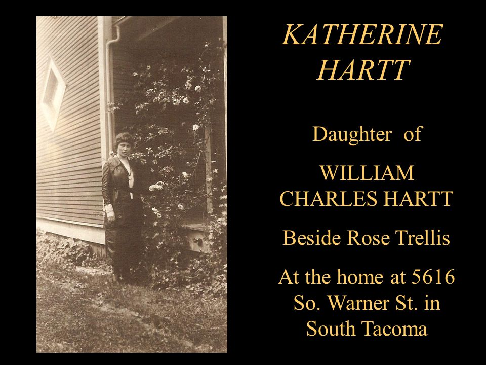 KATHERINE HARTT Daughter of WILLIAM CHARLES HARTT Beside Rose Trellis At the home at 5616 So.