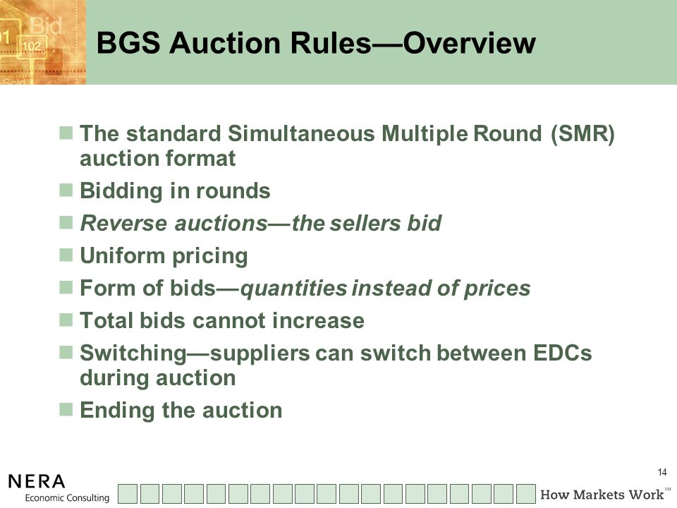 14 BGS Auction Rules—Overview The standard Simultaneous Multiple Round (SMR) auction format Bidding in rounds Reverse auctions—the sellers bid Uniform pricing Form of bids—quantities instead of prices Total bids cannot increase Switching—suppliers can switch between EDCs during auction Ending the auction