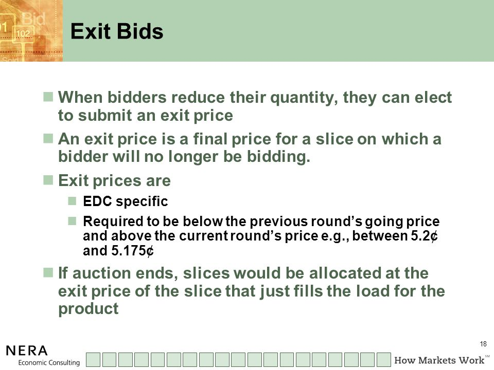 18 Exit Bids When bidders reduce their quantity, they can elect to submit an exit price An exit price is a final price for a slice on which a bidder will no longer be bidding.