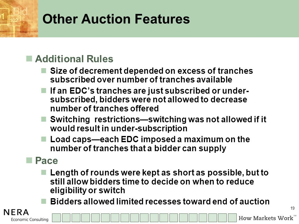 19 Other Auction Features Additional Rules Size of decrement depended on excess of tranches subscribed over number of tranches available If an EDC's tranches are just subscribed or under- subscribed, bidders were not allowed to decrease number of tranches offered Switching restrictions—switching was not allowed if it would result in under-subscription Load caps—each EDC imposed a maximum on the number of tranches that a bidder can supply Pace Length of rounds were kept as short as possible, but to still allow bidders time to decide on when to reduce eligibility or switch Bidders allowed limited recesses toward end of auction