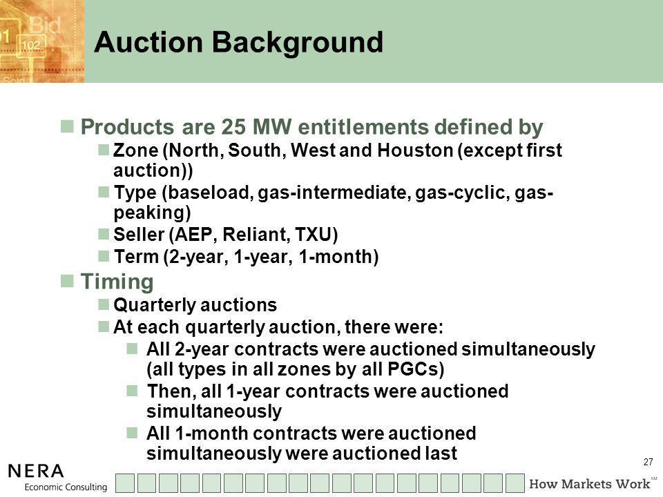 27 Auction Background Products are 25 MW entitlements defined by Zone (North, South, West and Houston (except first auction)) Type (baseload, gas-intermediate, gas-cyclic, gas- peaking) Seller (AEP, Reliant, TXU) Term (2-year, 1-year, 1-month) Timing Quarterly auctions At each quarterly auction, there were: All 2-year contracts were auctioned simultaneously (all types in all zones by all PGCs) Then, all 1-year contracts were auctioned simultaneously All 1-month contracts were auctioned simultaneously were auctioned last