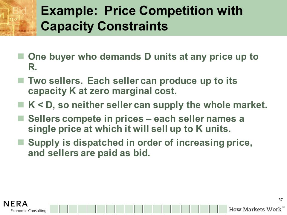 37 One buyer who demands D units at any price up to R.