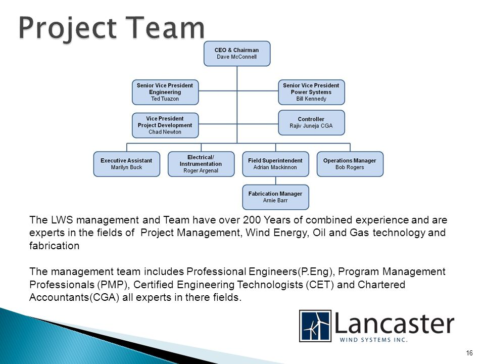 16 The LWS management and Team have over 200 Years of combined experience and are experts in the fields of Project Management, Wind Energy, Oil and Gas technology and fabrication The management team includes Professional Engineers(P.Eng), Program Management Professionals (PMP), Certified Engineering Technologists (CET) and Chartered Accountants(CGA) all experts in there fields.
