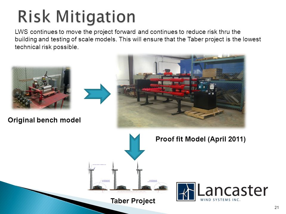 LWS continues to move the project forward and continues to reduce risk thru the building and testing of scale models.