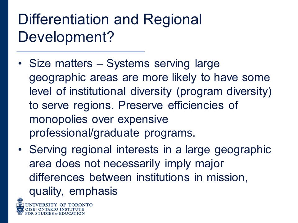 Differentiation and Regional Development.