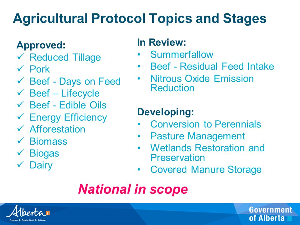 Agricultural Protocol Topics and Stages Approved: Reduced Tillage Pork Beef - Days on Feed Beef – Lifecycle Beef - Edible Oils Energy Efficiency Affor