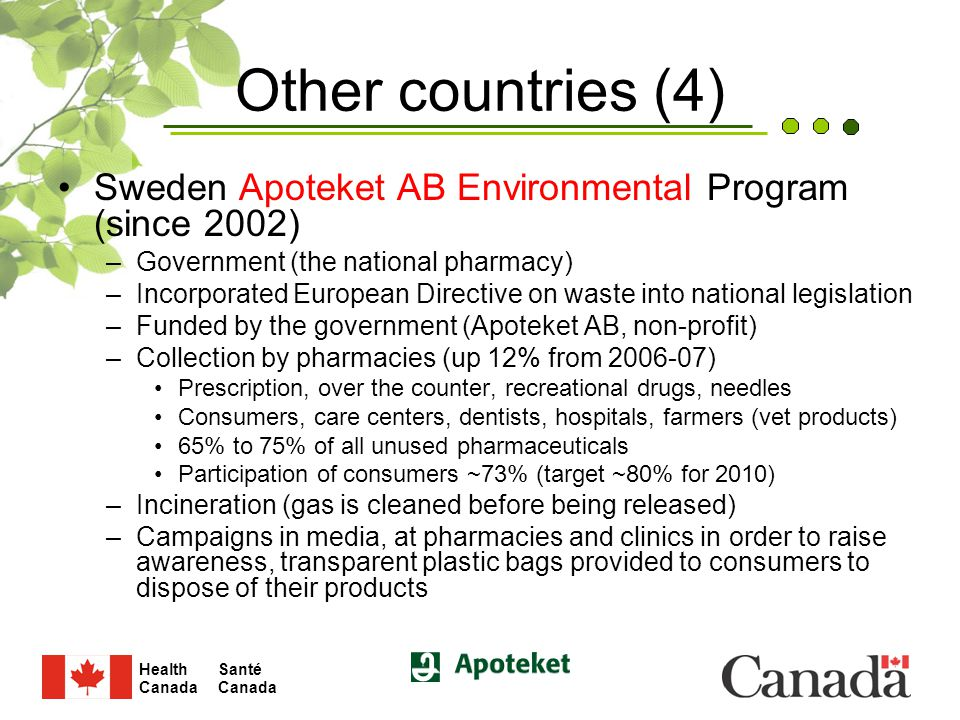 Santé Canada Health Canada 16 Other countries (4) Sweden Apoteket AB Environmental Program (since 2002) –Government (the national pharmacy) –Incorporated European Directive on waste into national legislation –Funded by the government (Apoteket AB, non-profit) –Collection by pharmacies (up 12% from 2006-07) Prescription, over the counter, recreational drugs, needles Consumers, care centers, dentists, hospitals, farmers (vet products) 65% to 75% of all unused pharmaceuticals Participation of consumers ~73% (target ~80% for 2010) –Incineration (gas is cleaned before being released) –Campaigns in media, at pharmacies and clinics in order to raise awareness, transparent plastic bags provided to consumers to dispose of their products