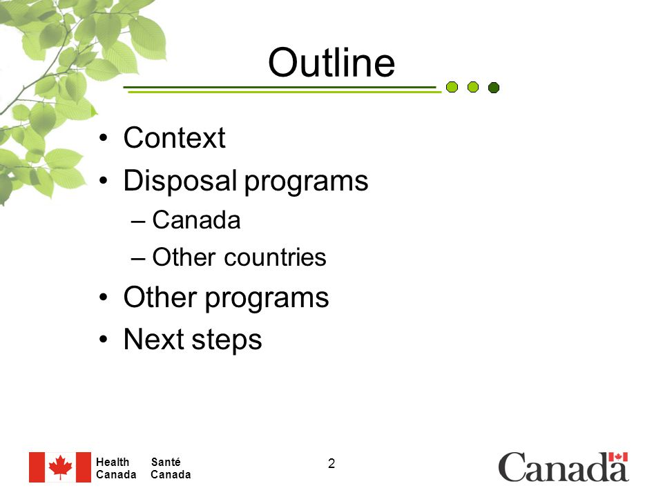 Santé Canada Health Canada 2 Outline Context Disposal programs –Canada –Other countries Other programs Next steps