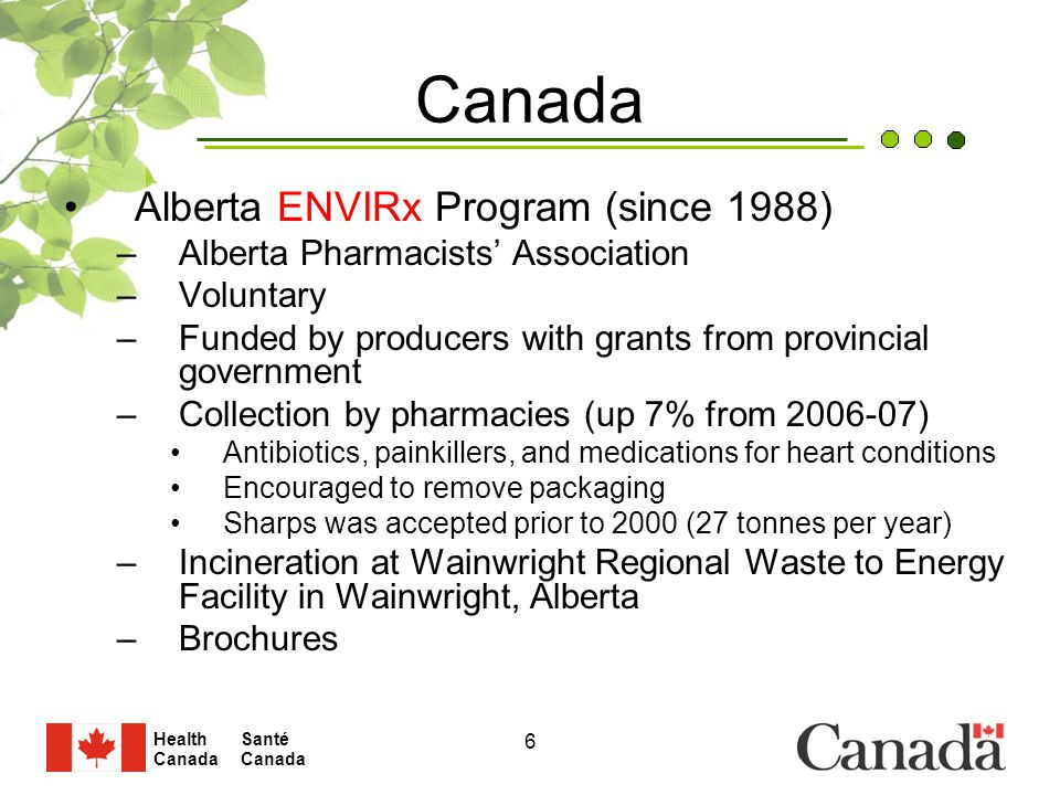 Santé Canada Health Canada 6 Alberta ENVIRx Program (since 1988) –Alberta Pharmacists' Association –Voluntary –Funded by producers with grants from provincial government –Collection by pharmacies (up 7% from 2006-07) Antibiotics, painkillers, and medications for heart conditions Encouraged to remove packaging Sharps was accepted prior to 2000 (27 tonnes per year) –Incineration at Wainwright Regional Waste to Energy Facility in Wainwright, Alberta –Brochures