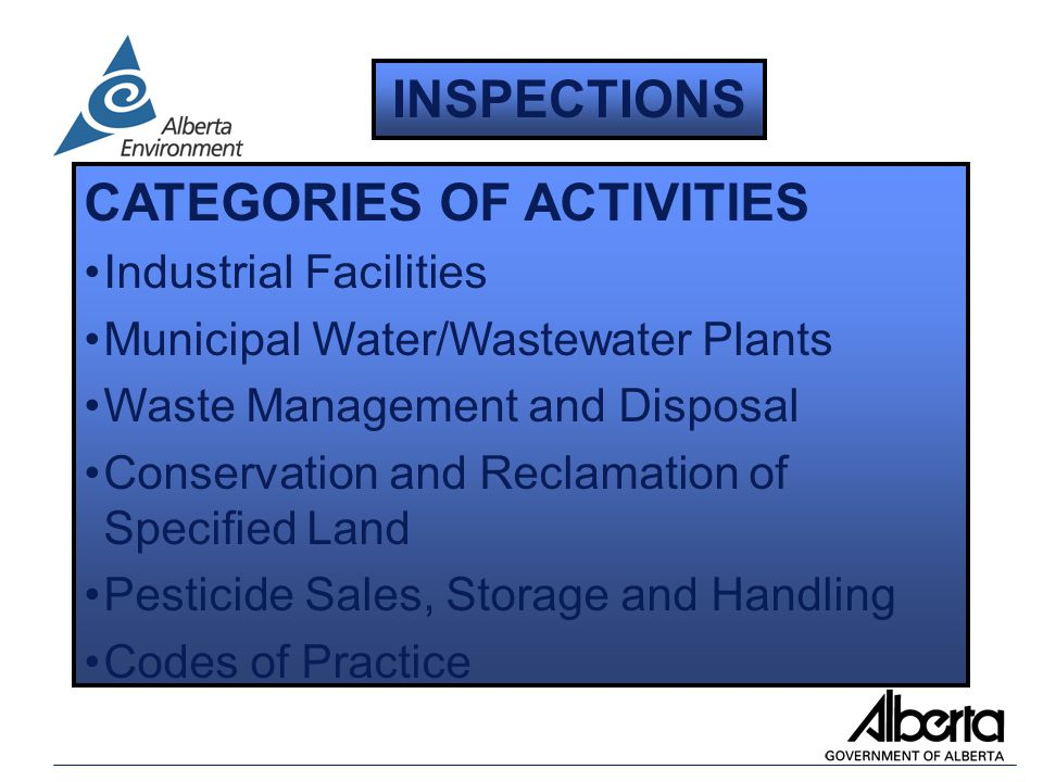 CATEGORIES OF ACTIVITIES Industrial Facilities Municipal Water/Wastewater Plants Waste Management and Disposal Conservation and Reclamation of Specified Land Pesticide Sales, Storage and Handling Codes of Practice INSPECTIONS