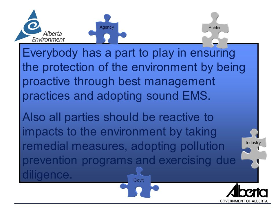 Everybody has a part to play in ensuring the protection of the environment by being proactive through best management practices and adopting sound EMS.