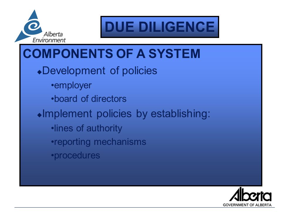 COMPONENTS OF A SYSTEM u Development of policies employer board of directors u Implement policies by establishing: lines of authority reporting mechanisms procedures DUE DILIGENCE