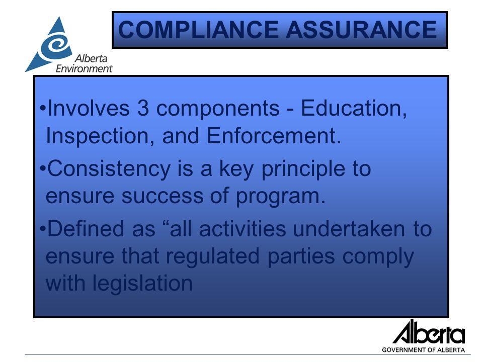 Involves 3 components - Education, Inspection, and Enforcement.