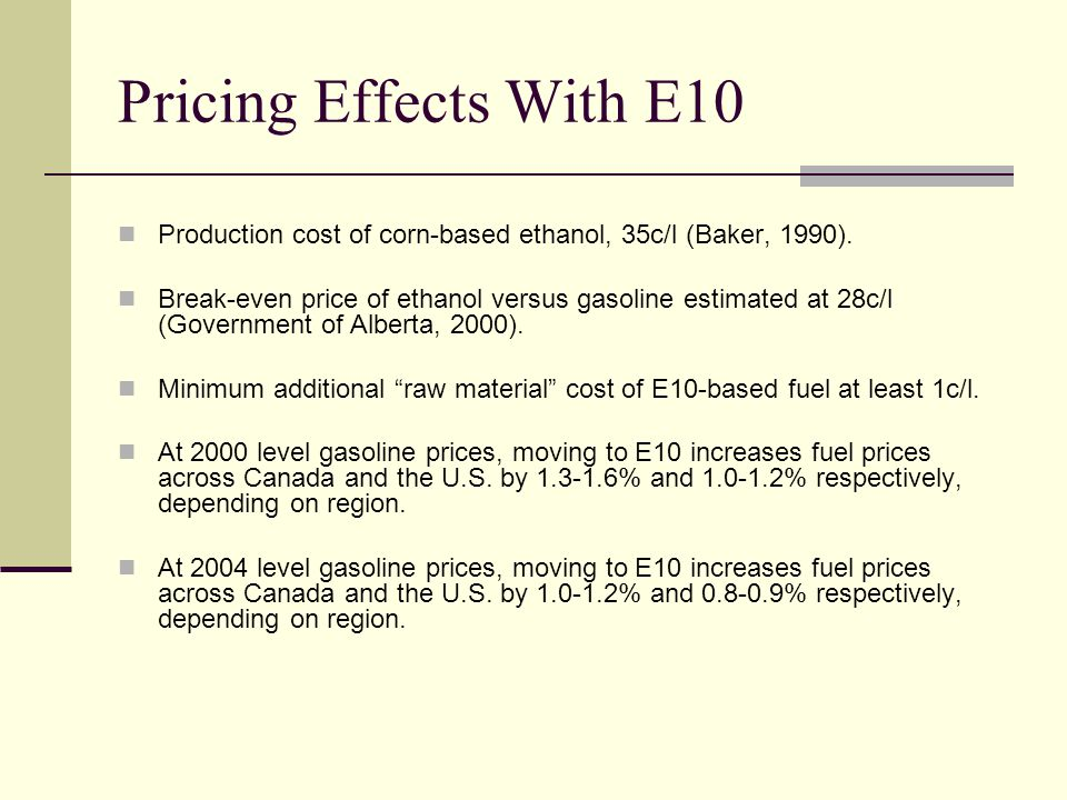 Pricing Effects With E10 Production cost of corn-based ethanol, 35c/l (Baker, 1990).