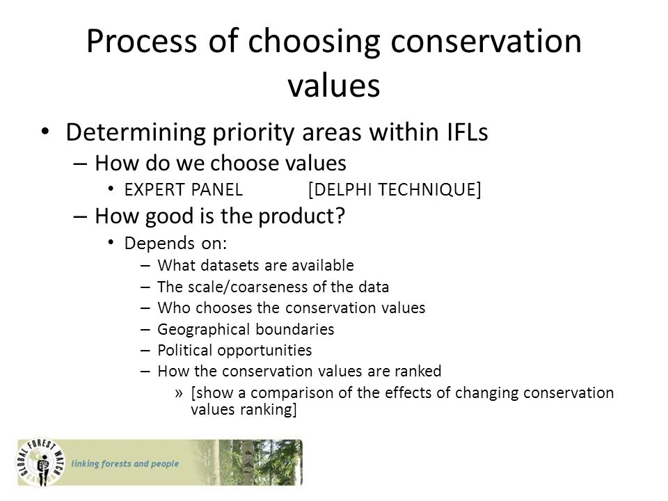Process of choosing conservation values Determining priority areas within IFLs – How do we choose values EXPERT PANEL[DELPHI TECHNIQUE] – How good is the product.