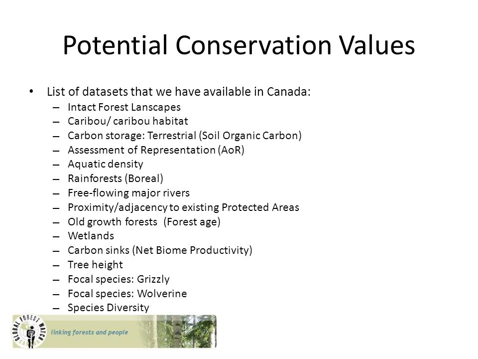 Potential Conservation Values List of datasets that we have available in Canada: – Intact Forest Lanscapes – Caribou/ caribou habitat – Carbon storage: Terrestrial (Soil Organic Carbon) – Assessment of Representation (AoR) – Aquatic density – Rainforests (Boreal) – Free-flowing major rivers – Proximity/adjacency to existing Protected Areas – Old growth forests (Forest age) – Wetlands – Carbon sinks (Net Biome Productivity) – Tree height – Focal species: Grizzly – Focal species: Wolverine – Species Diversity