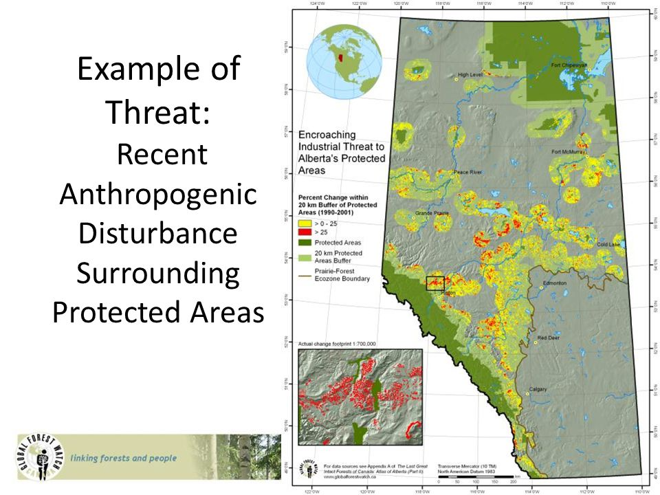 Example of Threat: Recent Anthropogenic Disturbance Surrounding Protected Areas