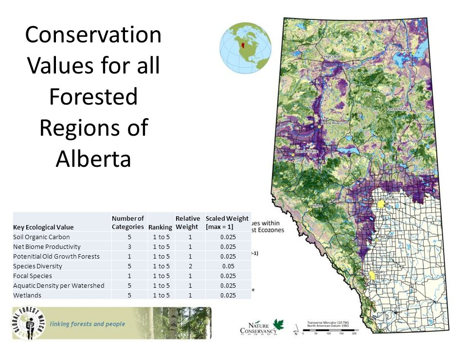 Conservation Values for all Forested Regions of Alberta Key Ecological Value Number of CategoriesRanking Relative Weight Scaled Weight [max = 1] Soil Organic Carbon51 to 510.025 Net Biome Productivity31 to 510.025 Potenitial Old Growth Forests11 to 510.025 Species Diversity51 to 520.05 Focal Species11 to 510.025 Aquatic Density per Watershed51 to 510.025 Wetlands51 to 510.025