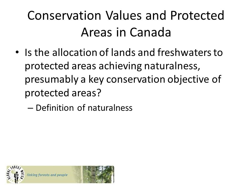 Conservation Values and Protected Areas in Canada Is the allocation of lands and freshwaters to protected areas achieving naturalness, presumably a key conservation objective of protected areas.