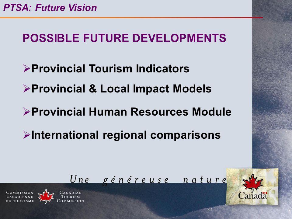 PTSA: Future Vision  Provincial Tourism Indicators  Provincial & Local Impact Models  Provincial Human Resources Module  International regional comparisons POSSIBLE FUTURE DEVELOPMENTS