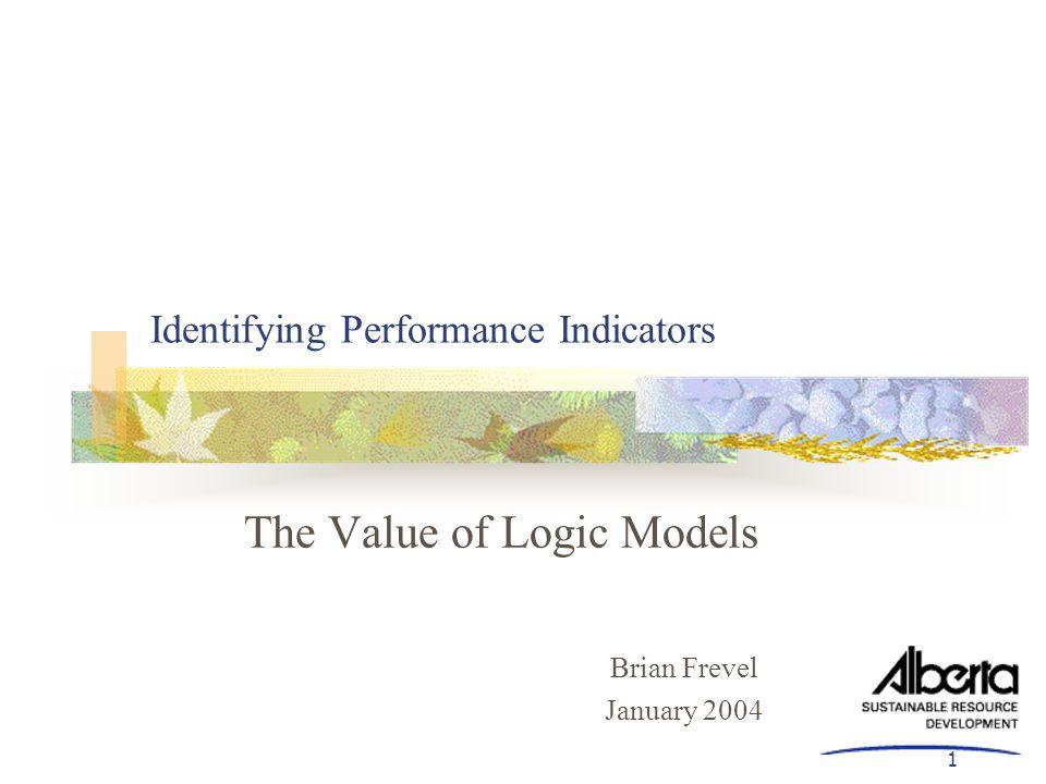1 Identifying Performance Indicators The Value of Logic Models Brian Frevel January 2004