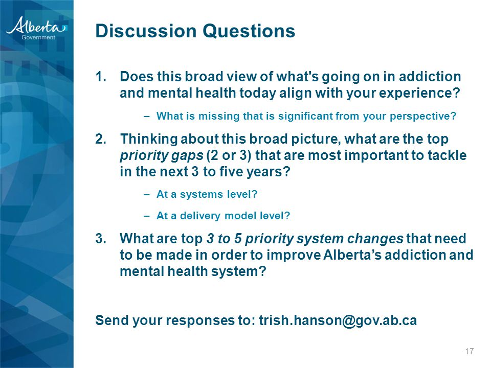 Discussion Questions 1.Does this broad view of what s going on in addiction and mental health today align with your experience.
