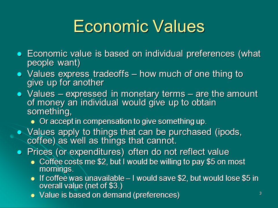 3 Economic Values Economic value is based on individual preferences (what people want) Economic value is based on individual preferences (what people