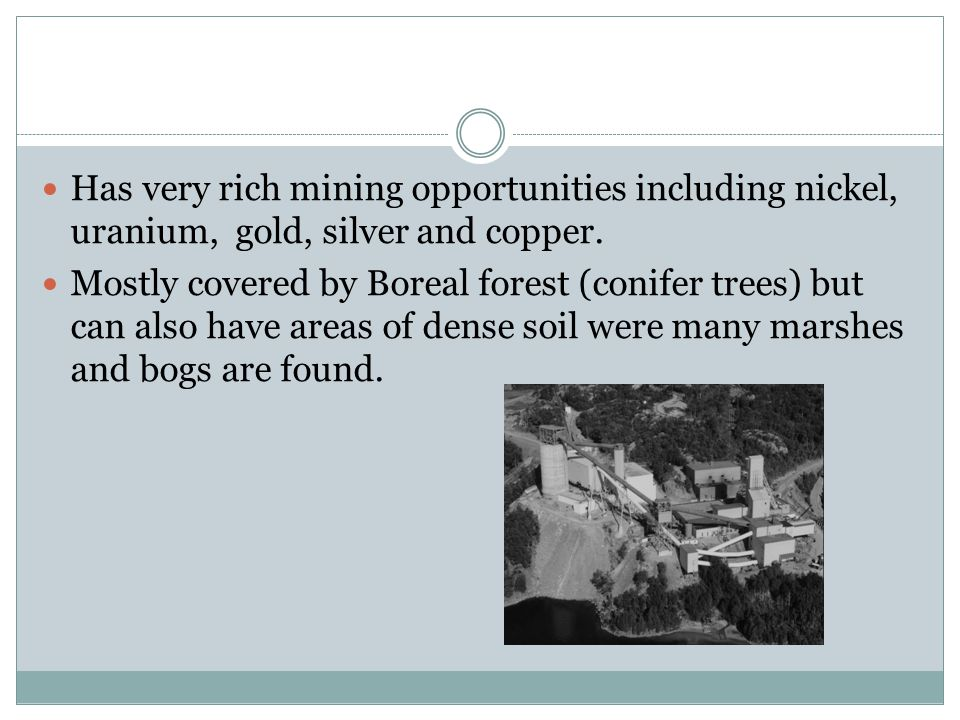 Has very rich mining opportunities including nickel, uranium, gold, silver and copper. Mostly covered by Boreal forest (conifer trees) but can also ha