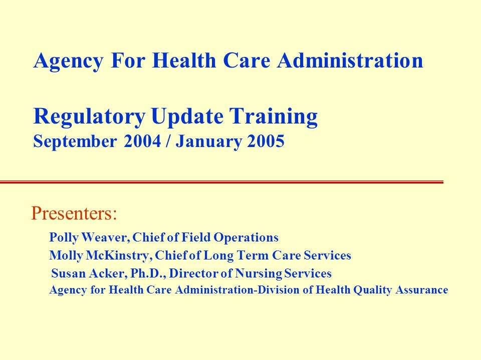 Agency for Health Care Administration Hurricane Season 2004