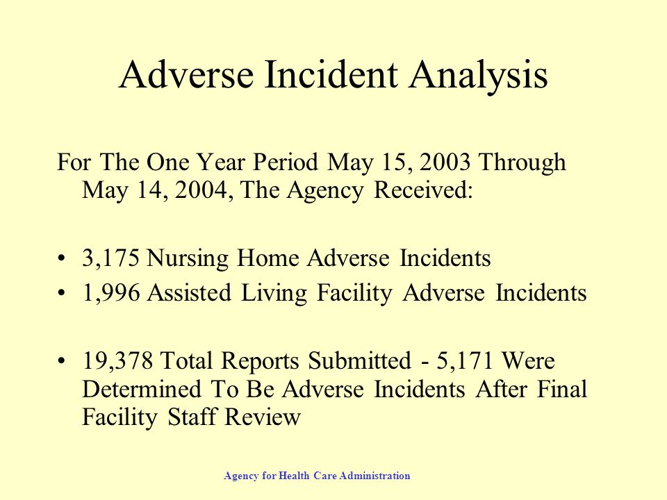 Agency for Health Care Administration Adverse Incident Analysis For The One Year Period May 15, 2003 Through May 14, 2004, The Agency Received: 3,175 Nursing Home Adverse Incidents 1,996 Assisted Living Facility Adverse Incidents 19,378 Total Reports Submitted - 5,171 Were Determined To Be Adverse Incidents After Final Facility Staff Review