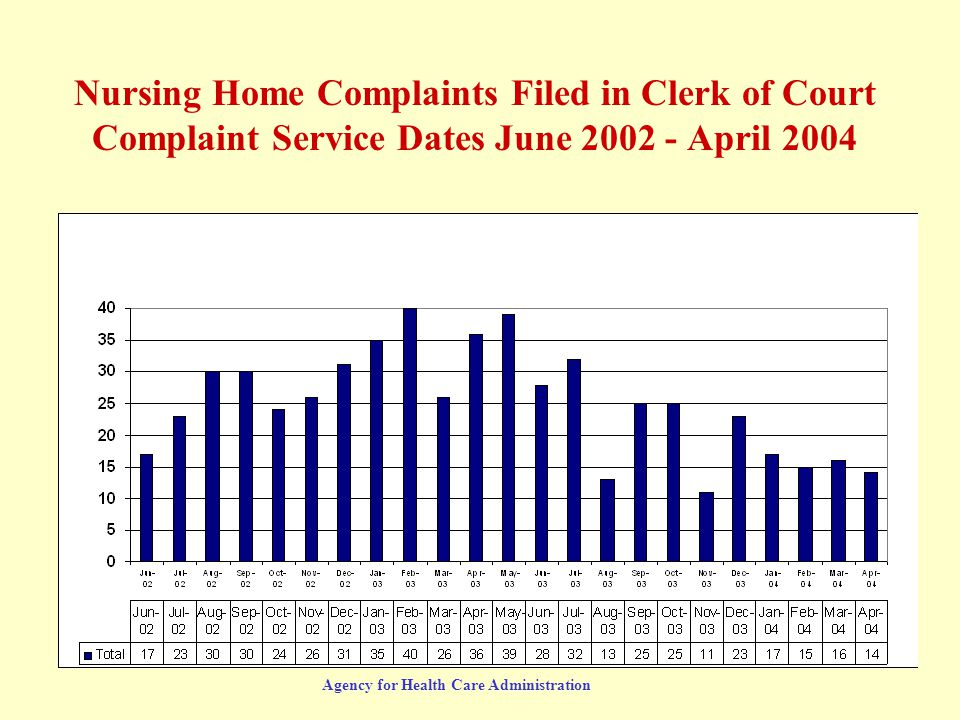 Agency for Health Care Administration Nursing Home Complaints Filed in Clerk of Court Complaint Service Dates June 2002 - April 2004