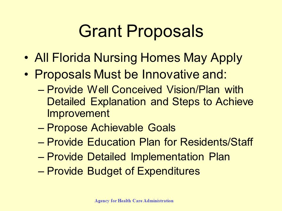 Agency for Health Care Administration Grant Proposals All Florida Nursing Homes May Apply Proposals Must be Innovative and: –Provide Well Conceived Vision/Plan with Detailed Explanation and Steps to Achieve Improvement –Propose Achievable Goals –Provide Education Plan for Residents/Staff –Provide Detailed Implementation Plan –Provide Budget of Expenditures