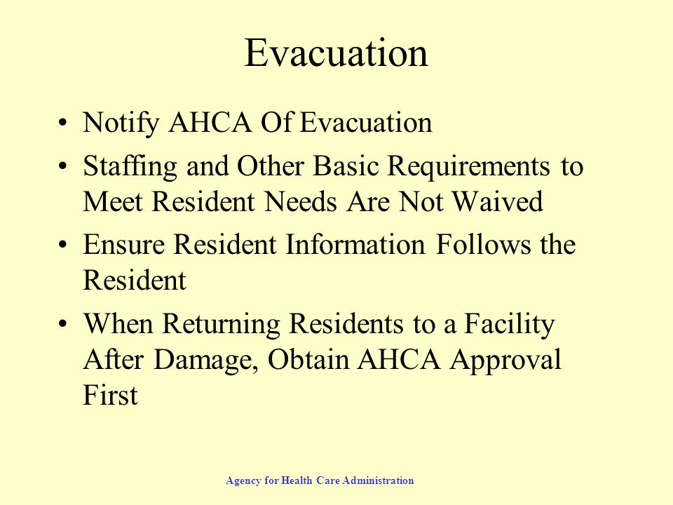 Agency for Health Care Administration Emergency Resources First Contact: Local Emergency Management http://www.floridadisaster.org/County_EM/county_list.htm# Florida Emergency Information Line 800-342-3557 Emergency Support Function – 8 850-410-1822 800-320-0519 (request ESF-8)